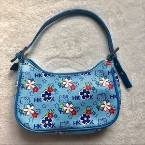 Hello Kitty blue faux leather flower hand bag